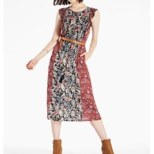 Lucky Brand Floral Patchwork Ruffle Midi Dress XS
